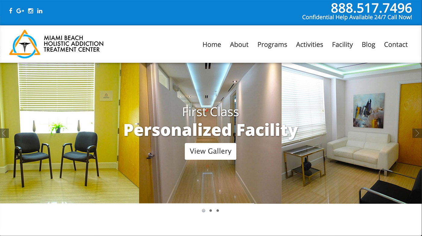 miami beach holistic addiction treatment center web design